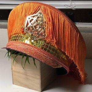 Holographic Geometric Captains Hat in Orange